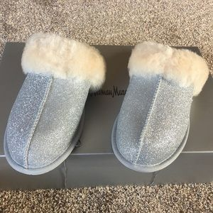 New UGG sparkle silver shearling slippers.
